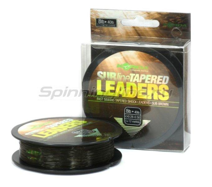 Лидер конический Korda Subline Tapered Leader Brown 12м 0,28-0,50мм -  1
