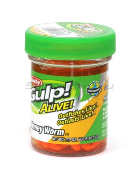 Berkley - Приманка Gulp Alive Honey Worms fluo orange - фотография 1