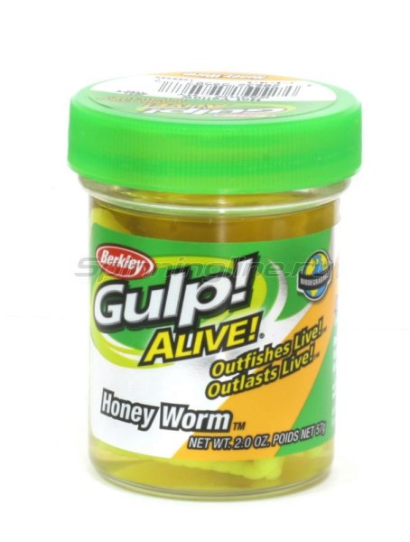 Berkley - Приманка Gulp Alive Honey Worms fluo yellow - фотография 1