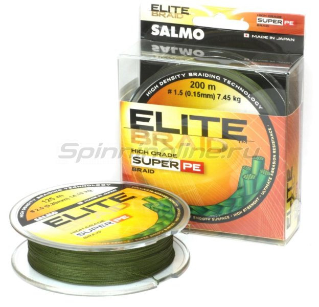 Salmo - Шнур ELITE BRAID SUPER PE Green 125м 0.11мм - фотография 1