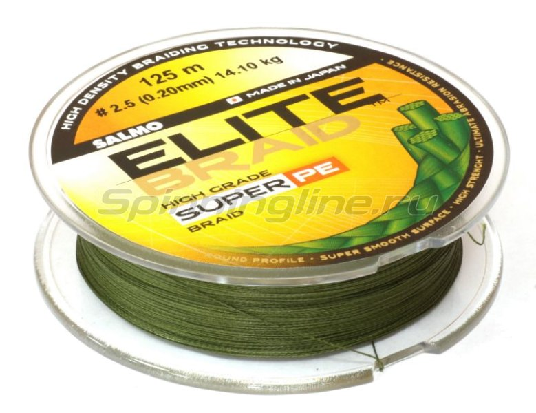 Salmo - Шнур Elite Braid Super PE Green 125м 0.17мм - фотография 2