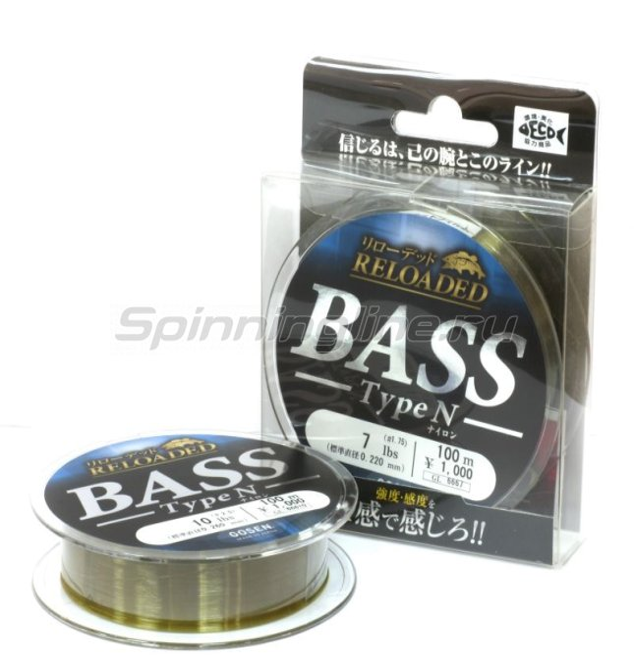 Леска Reloaded Bass Type N 100м 0,185мм -  1
