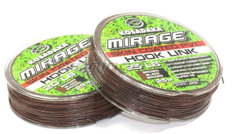 Поводковый материал Mirage в оболочке 25м 25lb коричневый/черный -  1