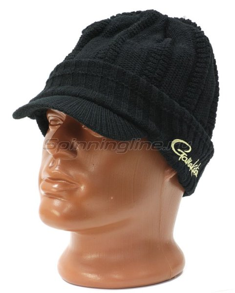 Шапка Gamakatsu Knit Cap Whith Brim black - фотография 1
