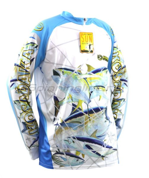 Футболка Kosadaka Sunblock 4XL бело-голубая - фотография 1