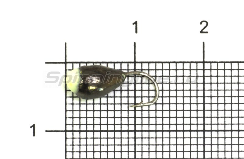 Lumicom - Мормышка Капля с отверстием d5 черный никель с фосфорной каплей - фотография 1