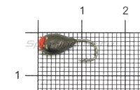 Мормышка Капля с отверстием d5 черный никель с красной каплей