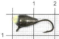 Мормышка Капля с ушком d6 черный никель с фосфорной каплей