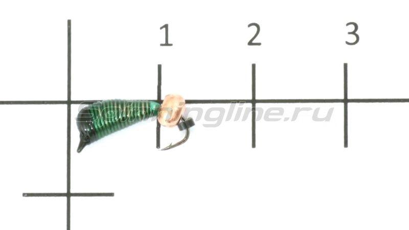 Мормышка Ручейник №6 d2.5 медный шар, зеленый -  1
