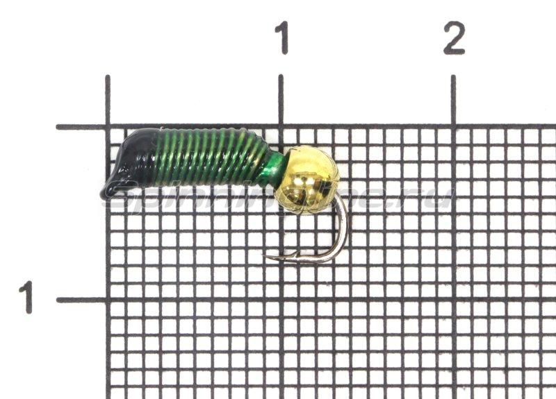 Мормышка Ручейник №5 d2 латунный шар, зеленый -  1