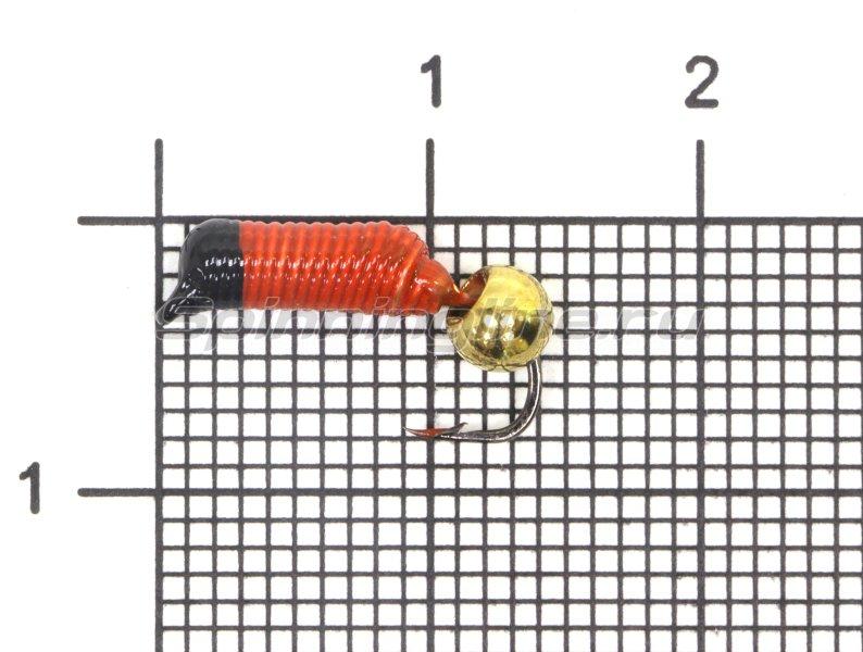 Мормышка Ручейник №5 d2 латунный шар, красный -  1