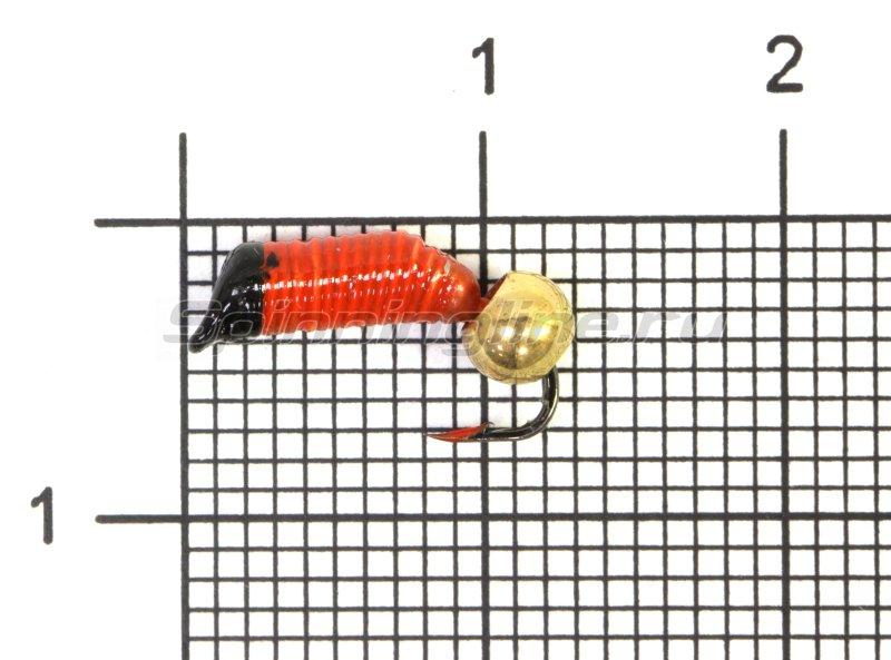 Мормышка Ручейник №4 d2 латунный шар, красный -  1
