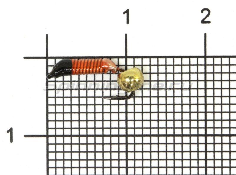 Мормышка Санхар Ручейник №1 d1 латунный шар, красный -  1