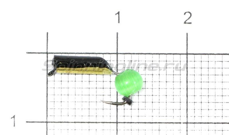 Мормышка Столбик №4 d2 кошачий глаз зеленый, латунь -  1