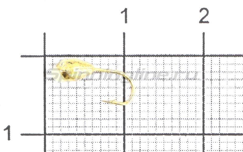 Мормышка Капля с отверстием d3 золото с фосфорной каплей -  1