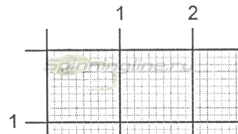 Мормышка Капля с отверстием d3 серебро с фосфорной каплей -  1