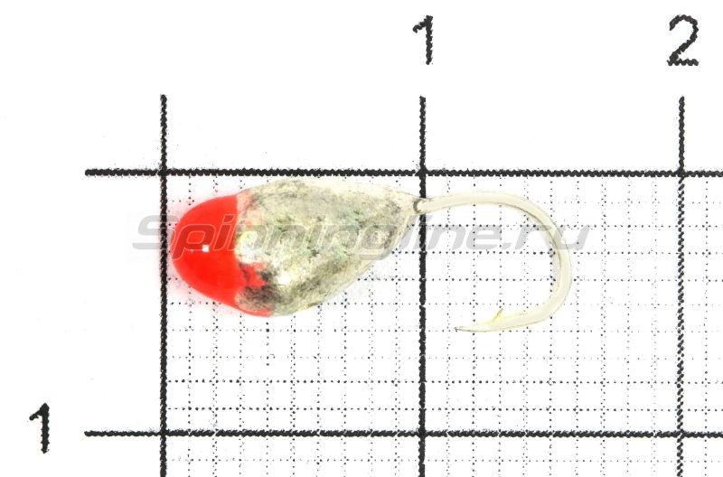 Мормышка Капля с отверстием d5 серебро с красной каплей -  1