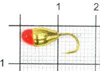 Мормышка Капля с отверстием d5 золото с красной каплей