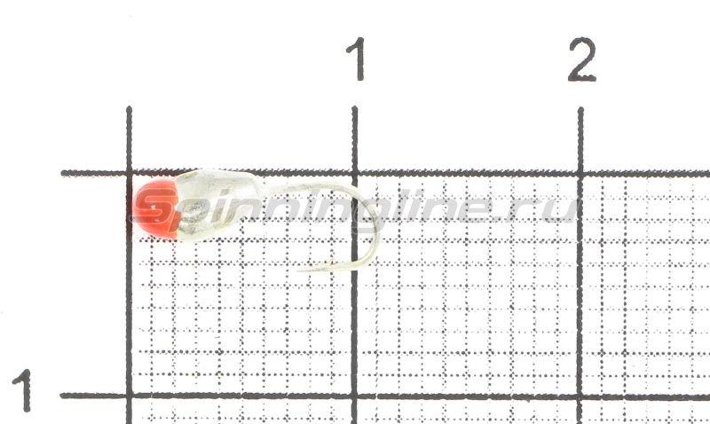 Мормышка Капля с отверстием d3 серебро с красной каплей -  1