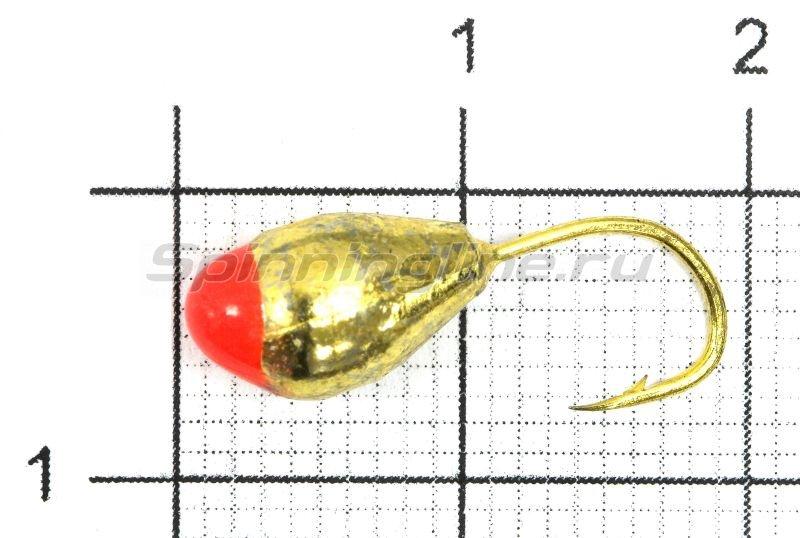 Мормышка Капля с отверстием d6 золото с красной каплей -  1