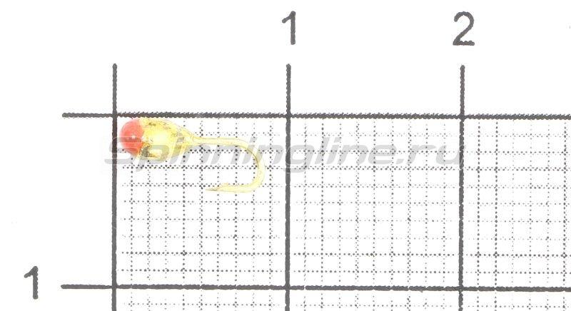 Мормышка Капля с отверстием d2.5 золото с красной каплей -  1