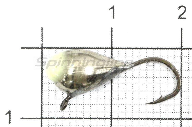 Мормышка Капля с ушком d6 никель с фосфорной каплей -  1