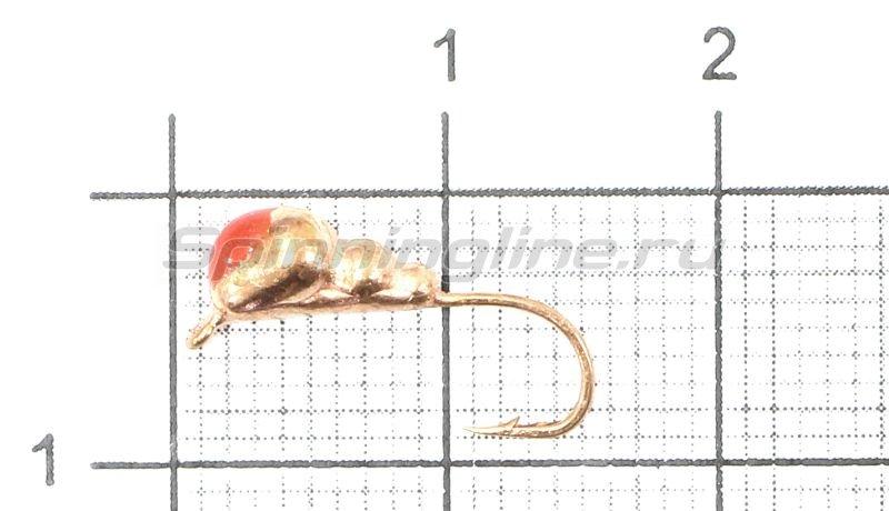 Мормышка Муравей с ушком d4 медь с красной каплей -  1