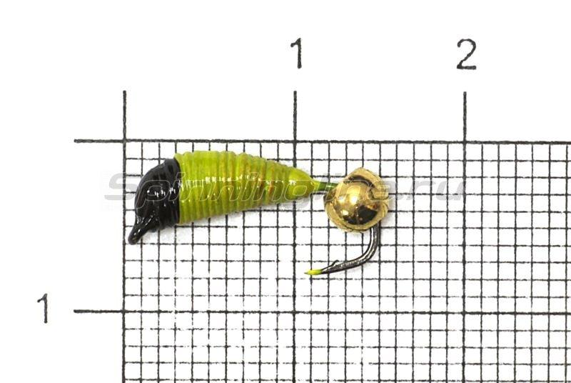 Мормышка Ручейник №7 d2.5 латунный шар, желтый -  1