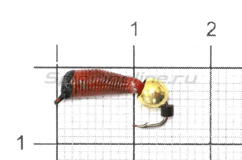 Санхар - Мормышка Ручейник №7 d2.5 латунный шар, красный - фотография 1