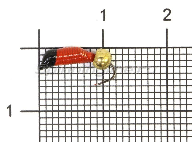 Мормышка Ручейник №2 d1.5 латунный шар, красный -  1