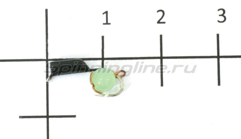Мормышка True Weight Гвоздешарик кошачий глаз d2 подвес светло-зеленый кр.maruto -  1