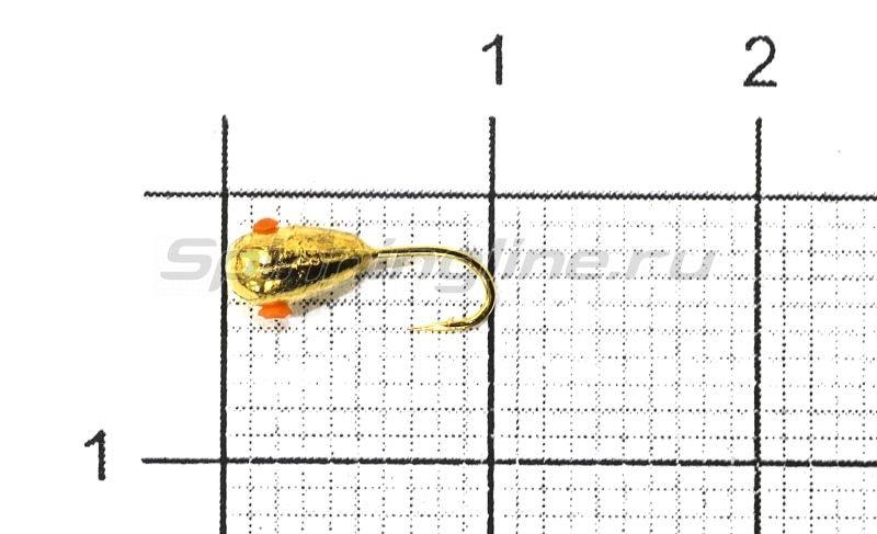 Мормышка Nautilus Капля с отверстием d3 002 золото -  1