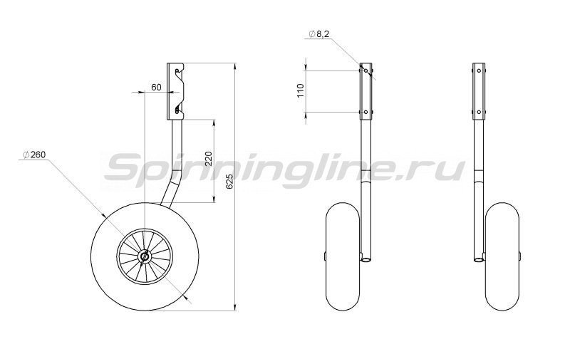 Техномарин - Комплект колес транцевых быстросъемных для НЛ типа Ротан 260мм - фотография 2
