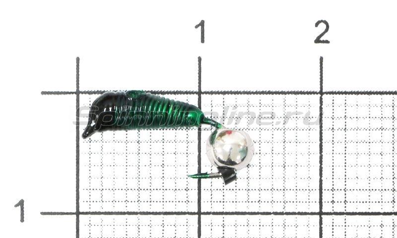 Мормышка Ручейник №4 d2 серебряный шар, зеленый -  1