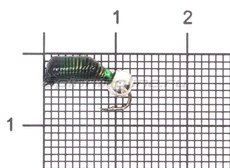 Мормышка Ручейник №6 d2.5 серебряный шар, зеленый -  1