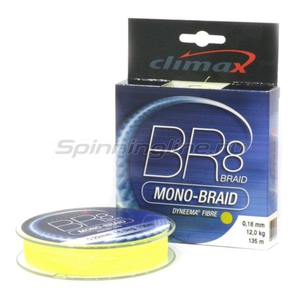 Climax - Шнур BR8 Mono-Braid 135м 0.18мм желтый - фотография 1