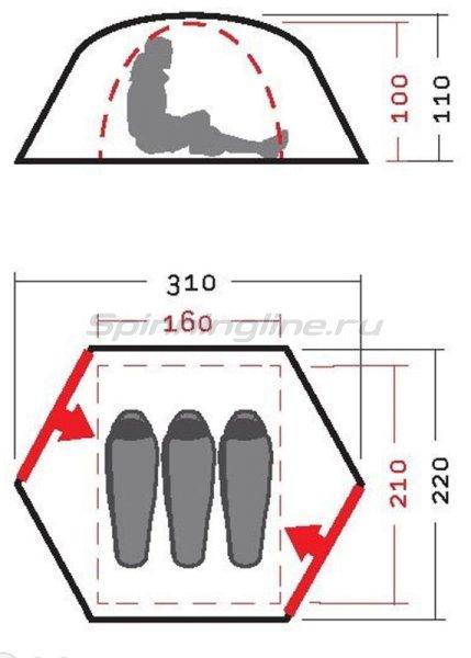 Палатка Памир 3 V2 оранжевый -  4