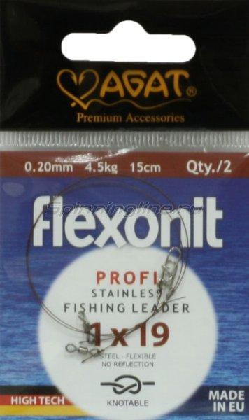 Agat - Поводок Flexonit 1х19 2,5кг 15см silver - фотография 1