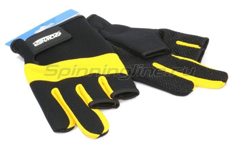 Owner - Перчатки без трех пальцев L черно-желтый - фотография 1