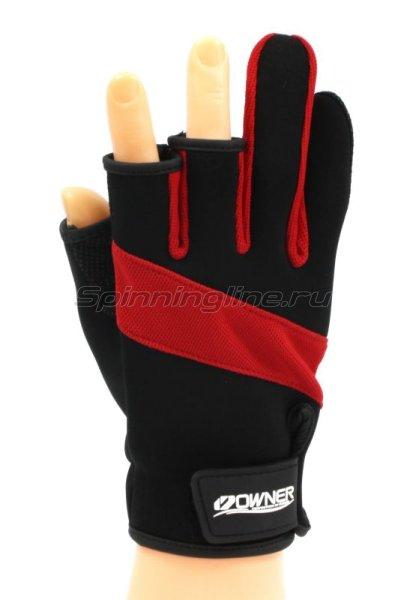 Owner - Перчатки без трех пальцев L черно-красный - фотография 1
