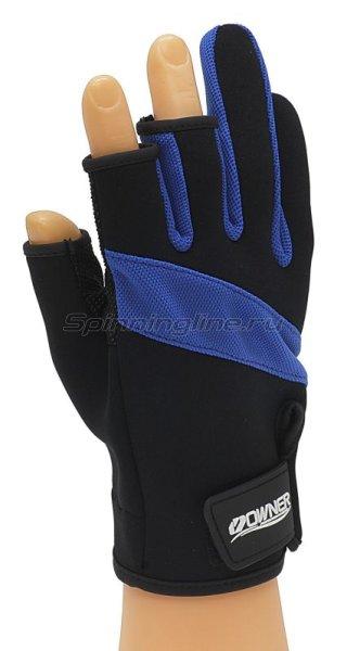 Перчатки без трех пальцев L черно-синий -  1