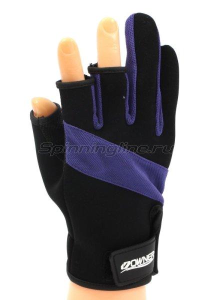 Перчатки без трех пальцев L черно-фиолетовый -  1