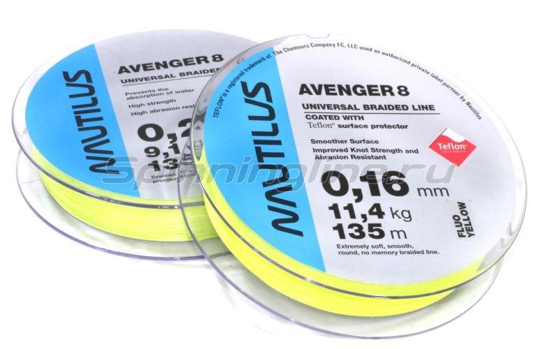 Шнур Avenger 8 Teflon Yellow 135м 0,10мм -  1