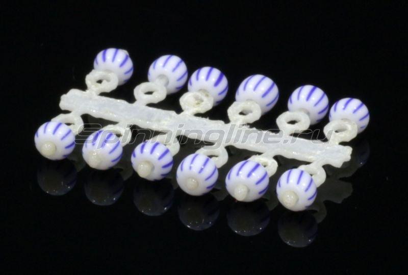 Микро-Бис Шар 2,3 мм бело-синий арбуз -  1
