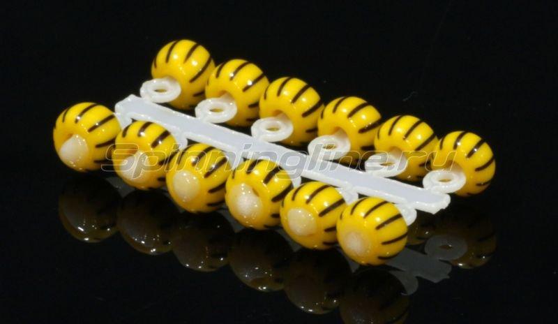 Левша-НН - Микро-Бис Шар 2,3 мм желто-черный арбуз №1 - фотография 1