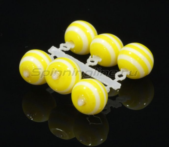 Микро-Бис Шар 6 мм акрил желто-белый арбуз -  1