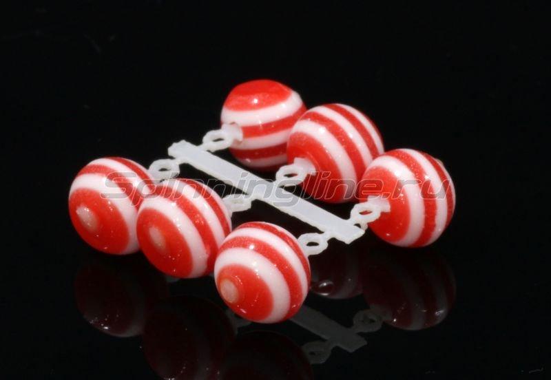 Левша-НН - Микро-Бис Шар 6 мм акрил алый-белый арбуз - фотография 1