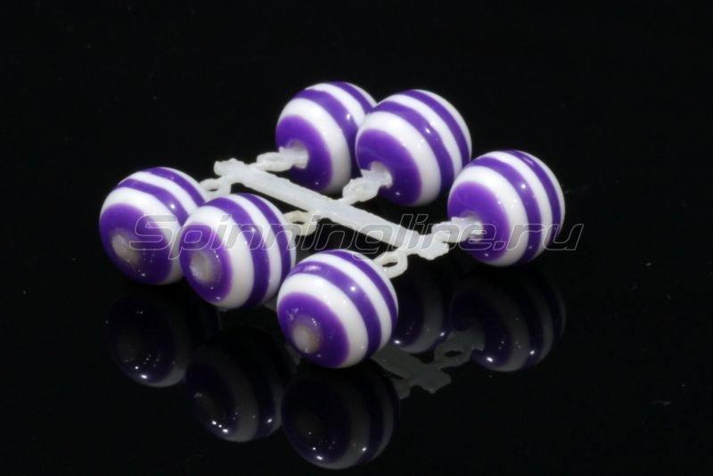 Микро-Бис Шар 6 мм акрил фиолеово-белый арбуз -  1