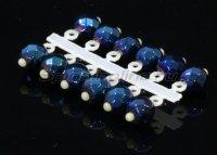 Микро-Бис Кристалл 3,8мм синий металлик подвеска короткая