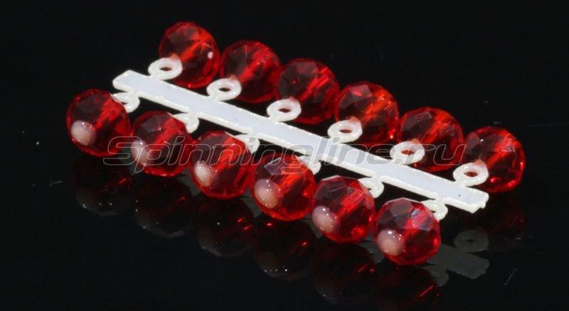Левша-НН - Микро-Бис Кристалл 4,2мм красный прозрачный подвеска короткая - фотография 1
